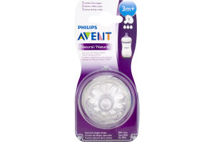 Philips Avent Bottle Nipple Natural (3m+) - 2 CT