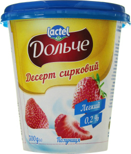 Десерт сирковий термізований нежирний з наповнювачем полуниця Дольче (стаканчик 0,300 кг)