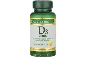Nature's Bounty Vitamin D3 2000 IU Rapid Release Softgels - 150 CT