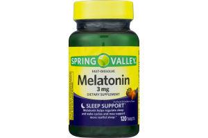 Spring Valley Fast-Dissolve Melatonin 3 mg Dietary Supplement Sleep Support Tablets - 120 CT