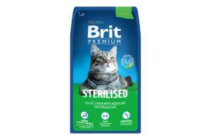 Корм д/стерилізованих котів Brit Преміум курка сух, кг