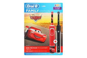 Щітка зубна електрична для дітей від 3років Kids Cars+Pro 1 700 Family Edition Oral-B 2шт