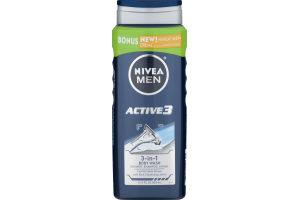 Nivea Men 3-in-1 Body Wash Active 3 Shower, Shampoo, Shave