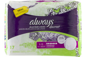 Always Discreet Underwear Maximum L - 17 CT
