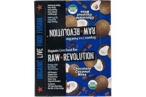Raw Revolution Organic Live Food Bar Chocolate Coconut Bliss - 12 CT