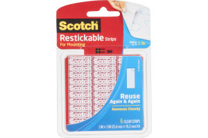 Scotch Restickable Strips For Mounting - 6 CT