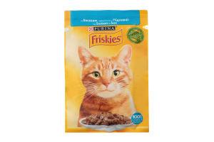 Корм для котів Фріскіс вологий з лососем шматочки у підливці 26x85г
