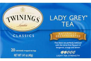 Twinings of London Classics Lady Grey Tea Naturally Decaffeinated - 20 CT