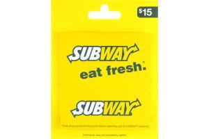 Subway $15 Gift Card