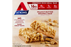 Atkins Meal Replacement Granola Bar Peanut Butter - 5 CT