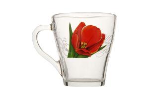 Чашка Грация декор стеклянная 250мл