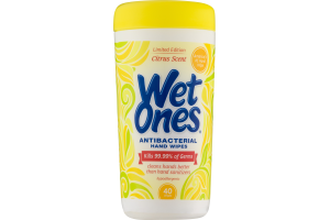 Wet Ones Antibacterial Hand Wipes Citrus Scent - 40 CT