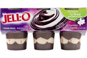 JELL-O 100 Calorie Fat Free Chocolate Vanilla Swirls Pudding Snacks - 6 CT