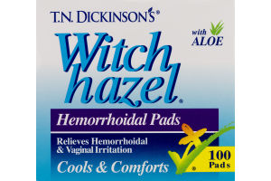 T.N. Dickinson's Witch Hazel Hemorrhoidal Pads - 100 CT