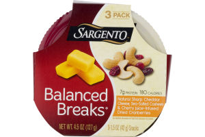 Sargento Balanced Breaks Natural Sharp Cheddar Cheese, Sea Salted Cashews & Cherry Juice Infused Dried Cranberries - 3 CT