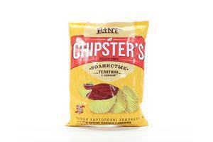 Чипсы картофельные со вкусом телятины с аджикой Волнистые Chipster's м/у 120г
