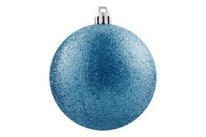 Украшение елочное Шар синий пластик 10см D-04