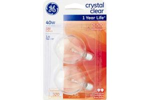 GE Crystal Clear 40W Decorative Base Bulbs - 2 CT