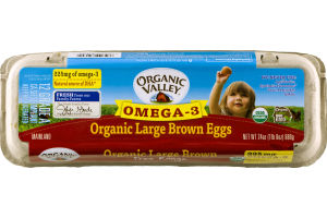 Organic Valley Omega 3 Large Brown Eggs Free Range Grade A - 12 CT