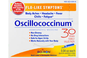 Boiron Oscillococcinum Flu-Like Symptoms Homeopathic Medicine Quick-Dissolving Pellets - 30 CT