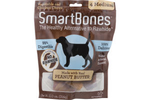 SmartBones Vegetable and Chicken Chews with Peanut Butter Medium - 4 CT