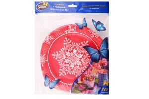 Набор тарелок одноразовых картонных Новогодняя снежинка Silken 230мм 10шт