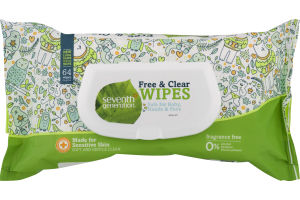 Seventh Generation Wipes Free & Clear - 64 CT