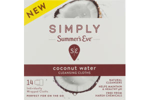 Simply Summer's Eve Cleansing Cloths Coconut Water - 14 CT
