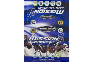 MuscleTech Mission 1 Clean Protein Bar Cookies & Cream - 12 CT