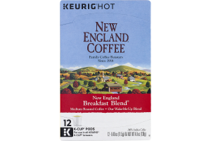 New England Coffee Breakfast Blend Medium Roast K-Cup Pods - 12 CT