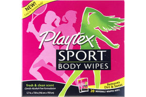 Playtex Sport Fresh & Clean Scent Body Wipes- 20 CT