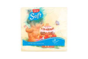 Салфетки бумажные 3-слойные Soft Varto 20шт
