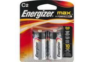 Energizer Max + Powerseal Batteries C - 2 CT