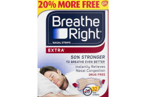 Breathe Right Nasal Strips Extra Tan - 32 CT