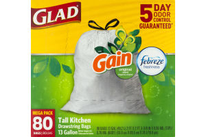 Glad Tall Kitchen Bags Gain Scent Original - 80 CT