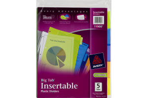 Avery Insertable Plastic Dividers 5 Big Tab - 5 CT