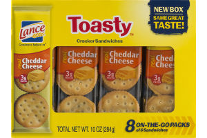 Lance Toasty Cracker Sandwiches On-The-Go Packs Cheddar Cheese - 8 PK