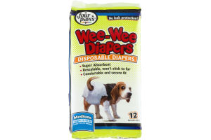 Four Paws Wee-Wee Diapers Medium (15-35 lbs) - 12 CT