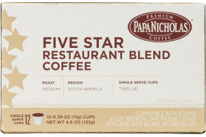 Papa Nicholas Five Star Restaurant Blend Coffee Single Serve Cups Medium - 12 CT