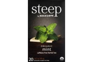 Steep By Bigelow Caffiene Free Herbal Tea Organic Mint - 20 CT