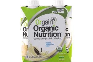 Orgain Organic Nutrition Complete Protein Shake Sweet Vanilla Bean - 4 PK