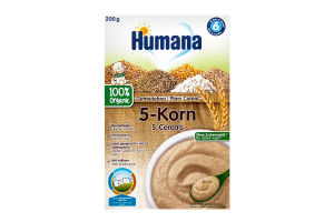 Каша безмолочная органическая для детей от 6 месяцев 5 злаков Humana к/у 200г