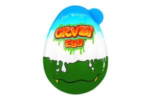 Яйце пластикове з цукерками і сюрпризом для хлопчиків Crazy Egg п/у 40г