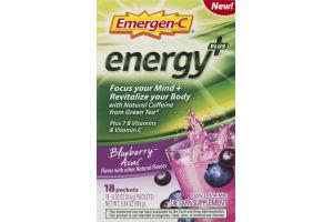 Emergen-C Energy Plus Fizzy Drink Mix Blueberry Acai - 18 CT