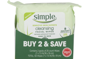Simple Cleansing Facial Wipes - 2 PK