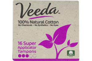 Veeda 100% Natural Cotton Tampons Super - 16 CT