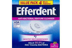 Efferdent Anti-Bacterial Denture Cleanser Tablets - 20 CT
