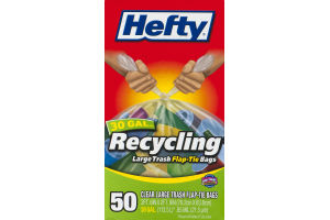 Hefty Recycling 30 Gal. Clear Large Trash Flap-Tip Bags - 50 CT