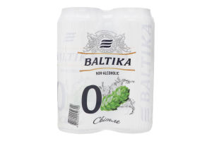 Пиво 4х0.5л 0.5% светлое пастеризованное Non-alcoholic №0 Baltika ж/б