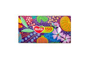 Платочки бумажные 20х21см 2-х слойные Ruta 150шт